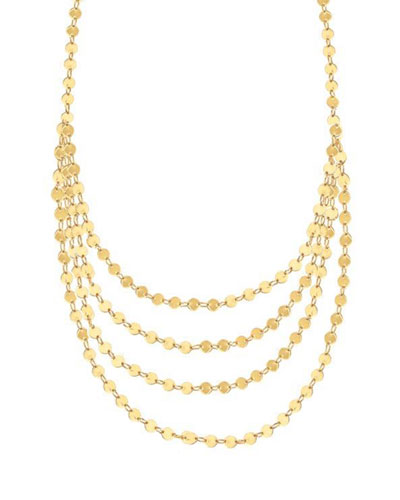 14k Elite Mega Disc Triple-Strand Necklace