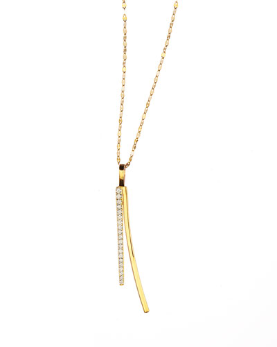 14k Electric Bar Diamond Reflector Necklace