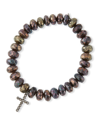 8mm Faceted Brown Rondelle Pyrite Bead Bracelet with 14k Gold Cross Charm