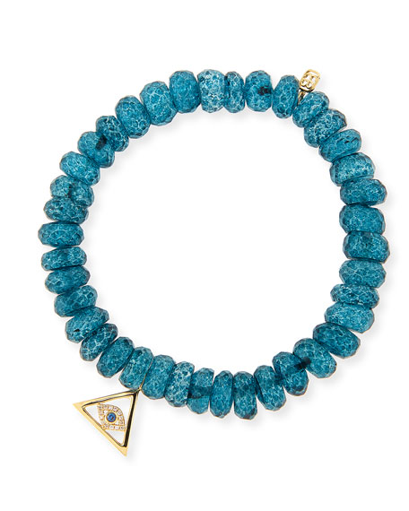 8mm Faceted London Blue Quartz Beaded Bracelet with 14k Gold Pyramid Evil Eye Charm