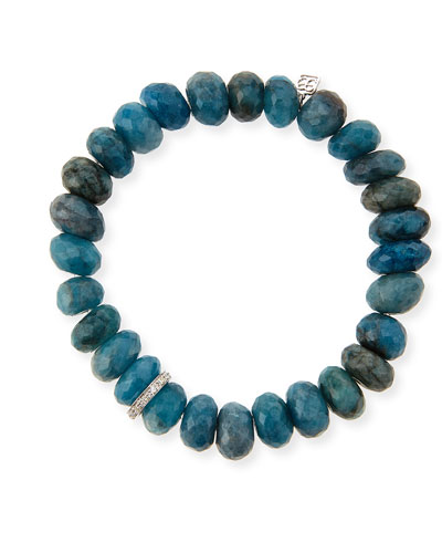10mm Faceted Blue Chrysocolla Beaded Bracelet with 14k White Gold Diamond Disc