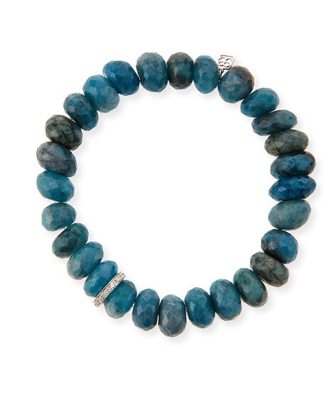 SYDNEY EVAN 10MM FACETED BLUE CHRYSOCOLLA BEADED BRACELET WITH 14K WHITE GOLD DIAMOND DISC