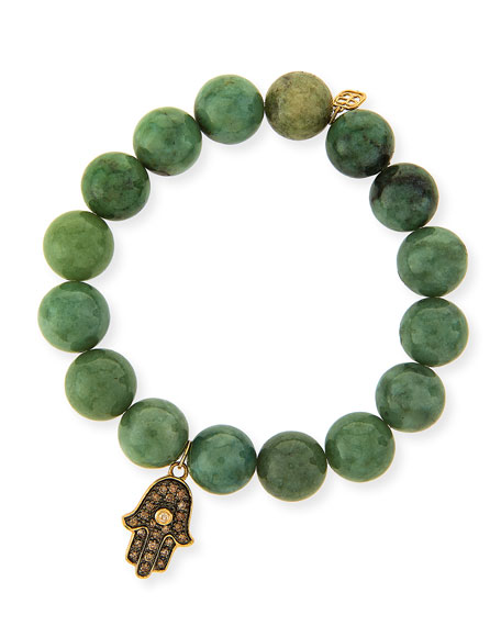 10mm Jade Beaded Bracelet with 14k Gold Diamond