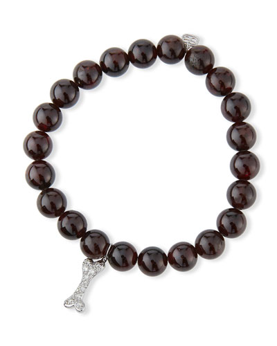 8mm Red Garnet Beaded Bracelet with 14k White Gold Dog Bone Charm