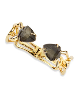 Hinged Fancy Pyrite/Crystal Doublet Bracelet