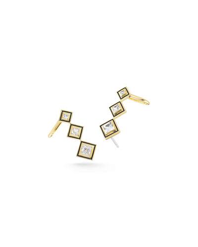 Dia Truitt Triple-Square Crawler Earrings