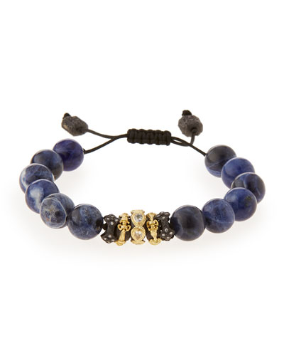 Old World Sodalite Beaded Diamond Bracelet