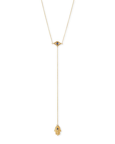 14k Gold Hamsa Diamond Lariat Necklace