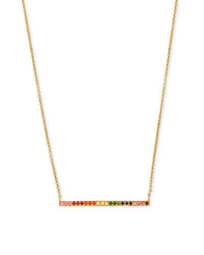14k Gold Small Rainbow Bar Necklace