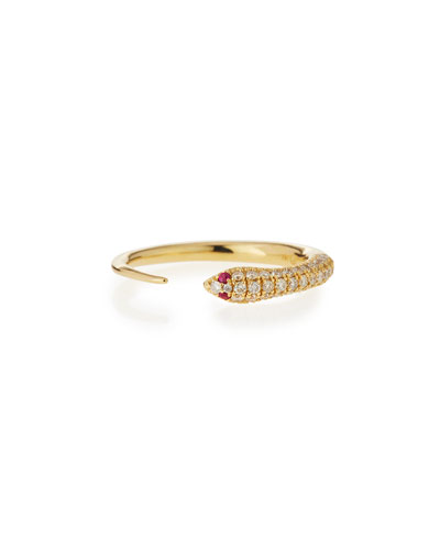 14k Pave Diamond Skinny Snake Ring