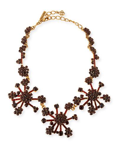 Crystal Flower Necklace, Bordeaux