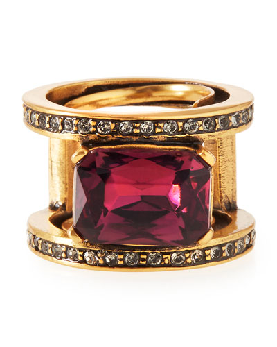 Octagon Crystal Band Ring