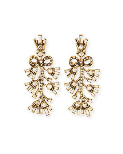 Floral Baguette Crystal Clip Earrings