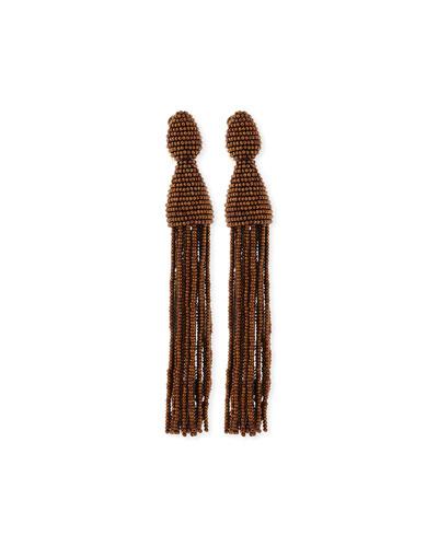 Long Beaded Tassel Clip Earrings