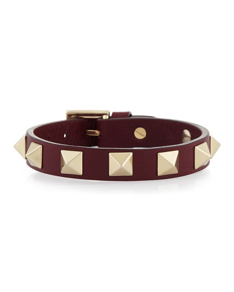 Small Rockstud Leather Bracelet, Crimson