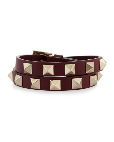 Double-Wrap Leather Rockstud Bracelet, Crimson