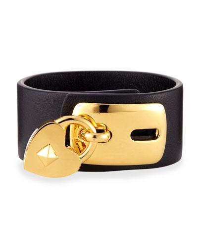 Leather Padlock Cuff Bracelet