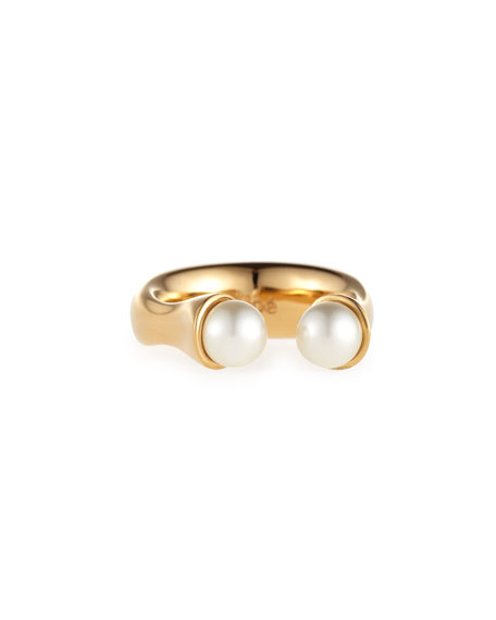 Chloe Darcey Brass Open Pearly Ring