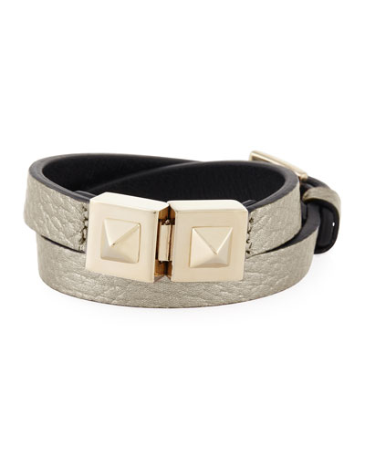 Metallic Leather Rockstud Wrap Bracelet