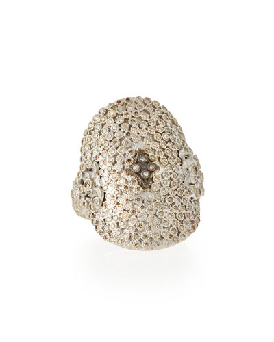 New World Large Pave Diamond Oval Ring