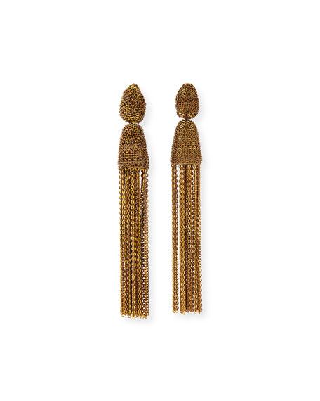 Metal Chain Tassel Clip Earrings