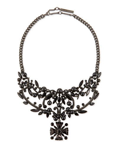 Jet Crystal Bib Necklace, Black