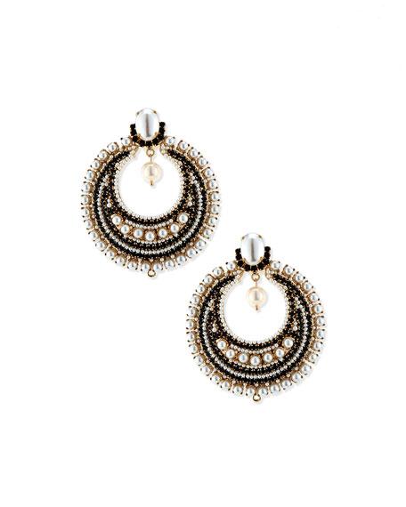 Glass Pearl Statement Earrings