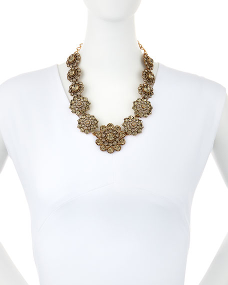 Floral Crystal Statement Necklace
