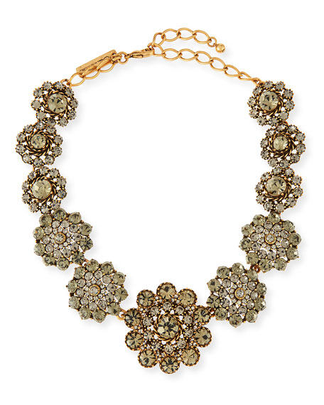 Oscar de la Renta Floral Crystal Statement Necklace