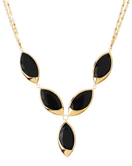 14k Elite Jet Marquise Onyx Necklace