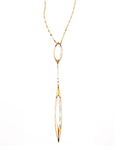 14k Elite Jetset Crystal Dangle Necklace