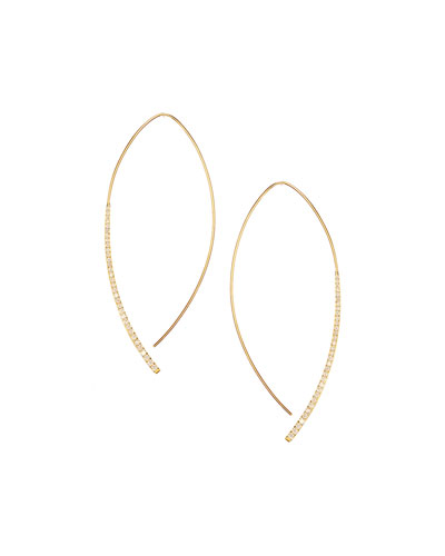 14k Small Electric Arch Diamond Hoop Earrings
