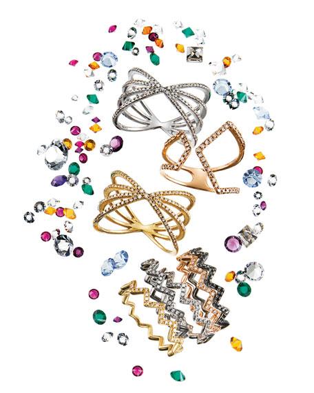 Split Chevron Diamond Rose Gold Ring