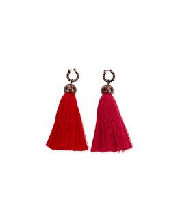 Tassel Drop Earrings, Red/Pink
