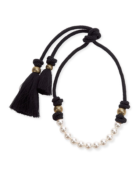 Short Pearly Necklace with Tassel Ends, 17.3""