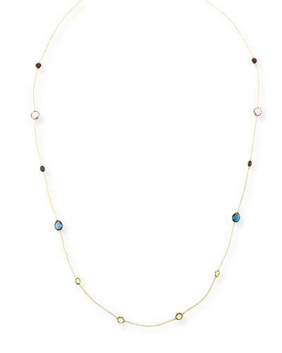 18k Rock Candy® Fall Rainbow Station Necklace, 42