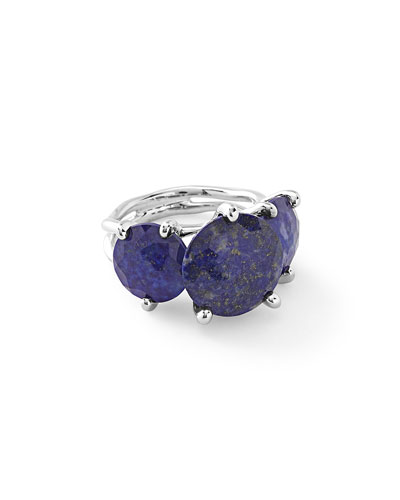 925 Rock Candy 3-Stone Lapis Doublet Ring
