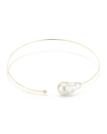 Mizuki Baroque Pearl & Single Diamond Collar Necklace