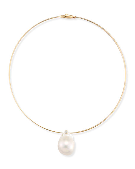 Medium Single Pearl Collar Necklace