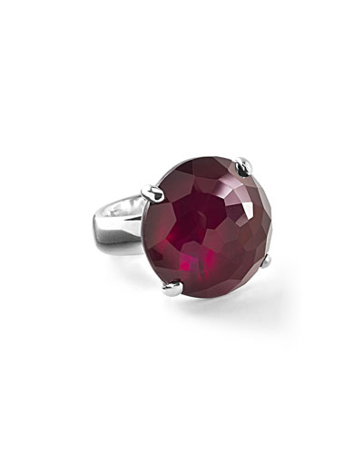 925 Rock Candy Large Round Ring, Cherry