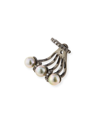 Gigi Gray Pearl & Diamond Single Ear Jacket