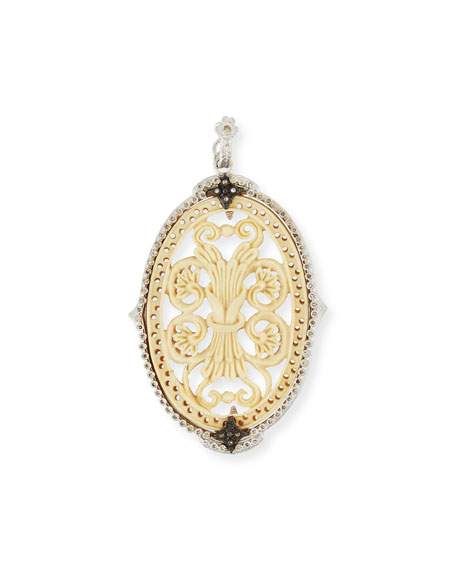 Armenta New World Oval Bone Filigree Enhancer