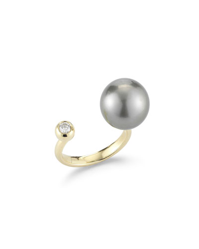 Open Tahitian Pearl & Diamond Ring