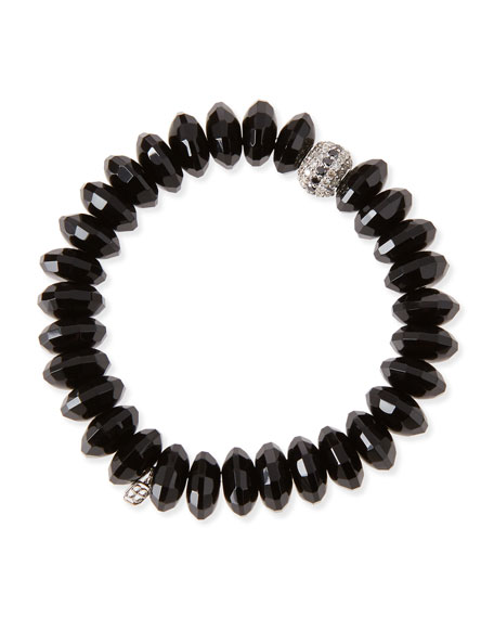 Sydney Evan 12mm Faceted Black Agate Beaded Bracelet