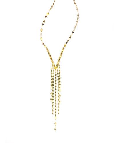 14K Gold Short Tassel Necklace, 16