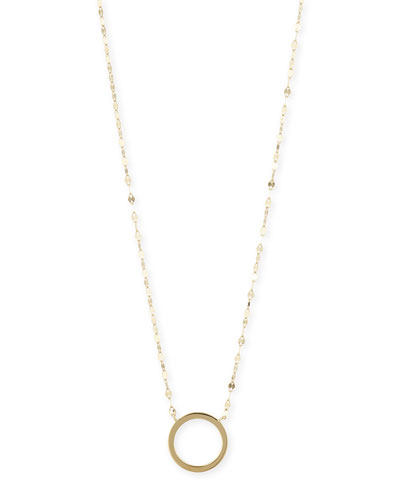 14K Gold Circle Charm Necklace, 16