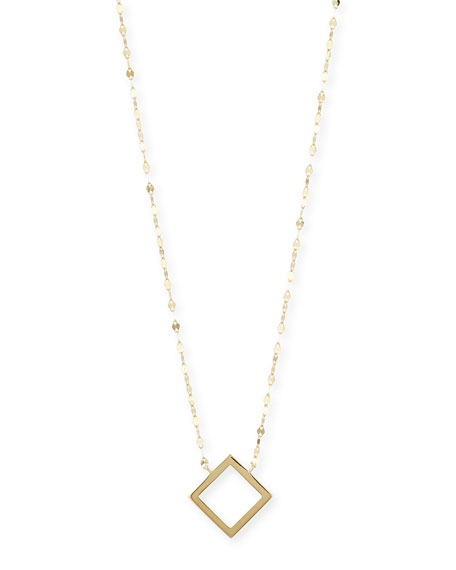 14K Gold Square Charm Necklace, 16""