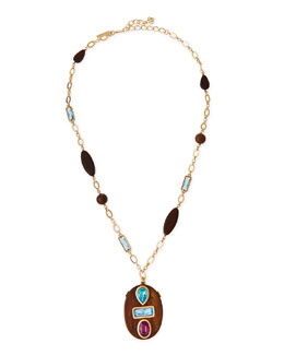 Wooden Swarovski® Crystal Pendant Necklace