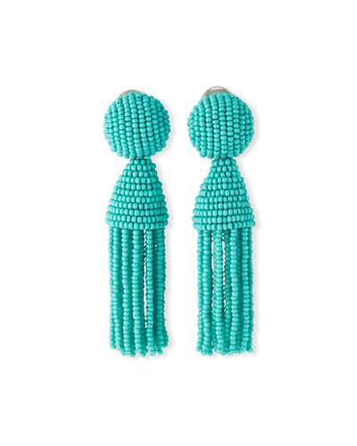 Swarovski® Crystal Tassel Clip Earrings, Turquoise