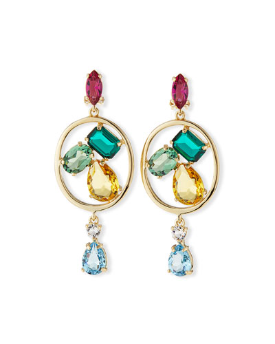 Multicolor Swarovski® Crystal Drop Clip Earrings